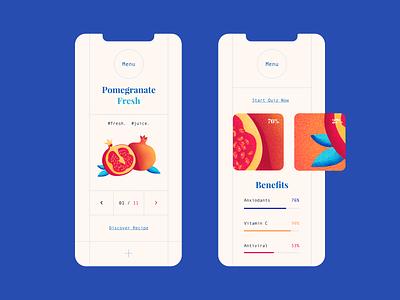 Pomegranate Benefits - Mobile Design fruit pomegranate app mobile ux ui web vector color illustration design