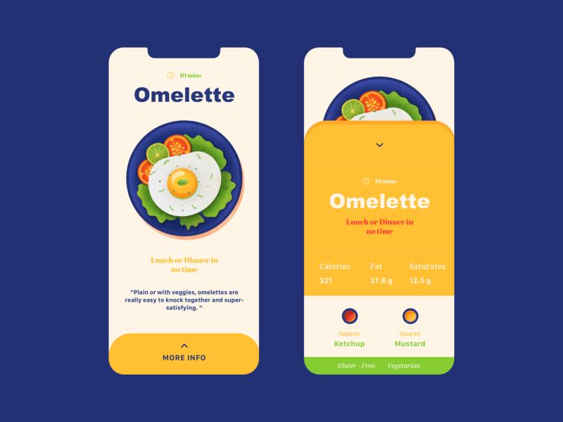 Omelette - Mobile Design recipe dish food ux ui web vector color illustration design