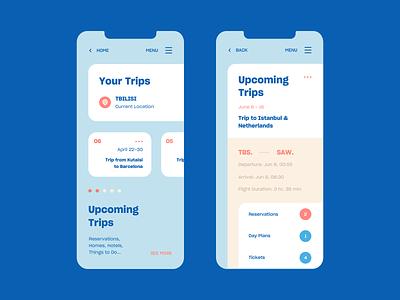 Trip Planner mobile trip ux ui web vector color design