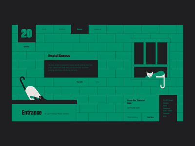 Cat Friendly Hostel Web bricks building hotel hostel cat poster animation vector design color web design illustration ux ui web