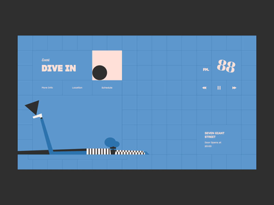 Dive In grid fm music radio animation ux ui web illustration vector color design