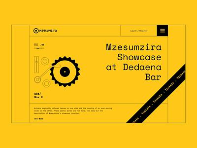 Website For Mzesumzira music festival ticket podcast event menu burger design simple web sunflower
