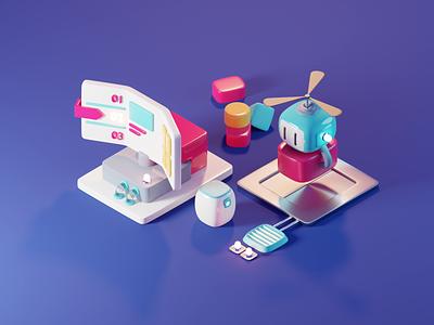 Inbox web illustration ux design diorama isometric render blender illustration 3d