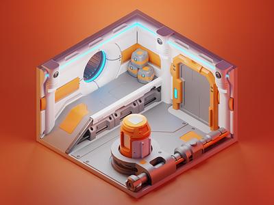 Space Corridor corridor space station spaceship sci-fi model diorama isometric render blender illustration 3d
