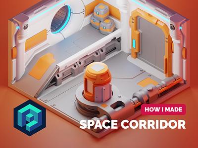 Space Corridor Tutorial space station corridor sci-fi tutorial diorama isometric render blender illustration 3d