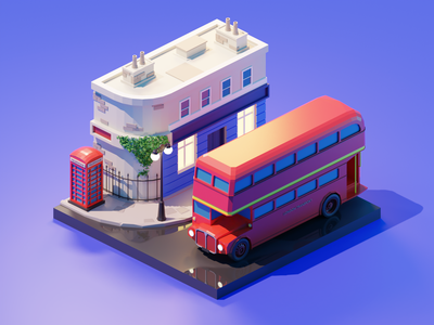 London city london lowpolyart low poly diorama isometric lowpoly render blender illustration 3d