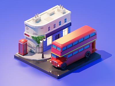 London city london lowpolyart low poly diorama isometric lowpoly render blender illustration 3d