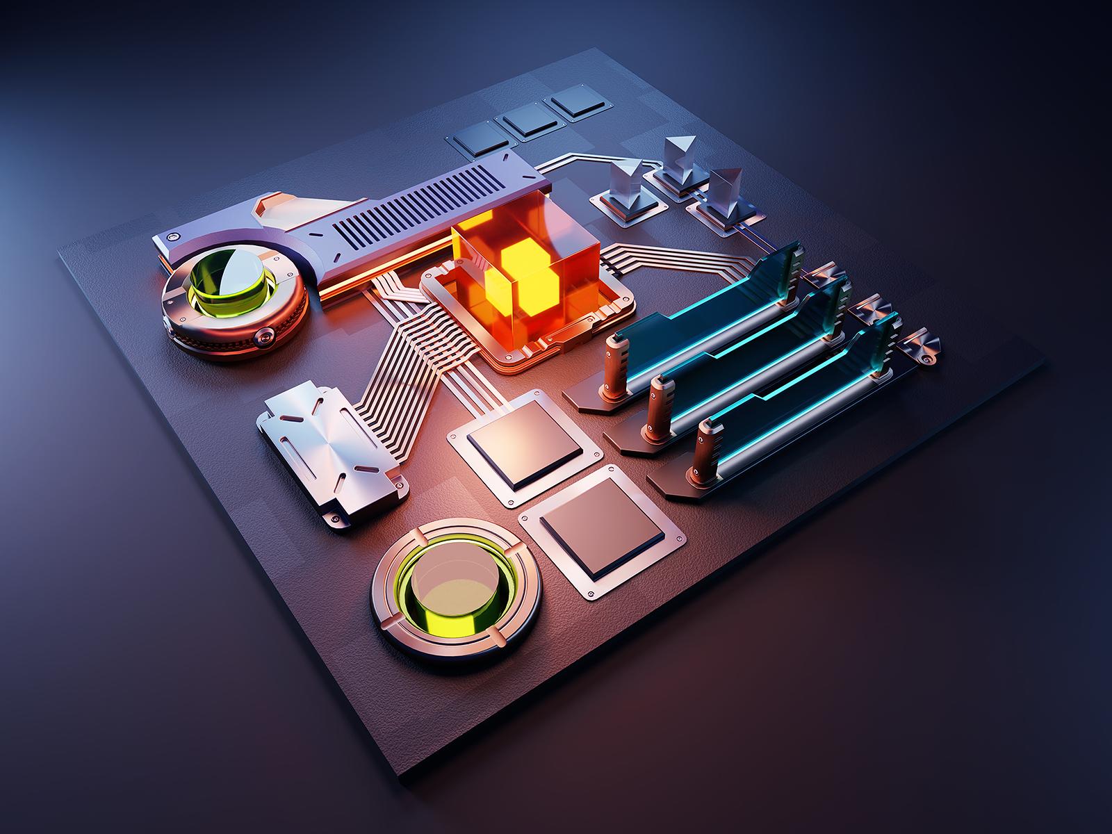 Computing web illustration computing isometric design render blender illustration 3d