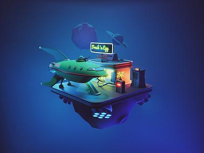 Futurama Ship spaceship rocket planet express futurama fanart diorama render blender illustration 3d