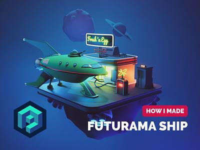 Futurama Ship Tutorial rocket spaceship planet express futurama fanart diorama render blender illustration 3d