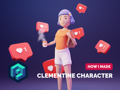 Clementine Character Tutorial character illustration 3d character character render blender illustration 3d