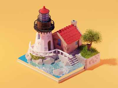 Lighthouse lighthouse lowpolyart low poly diorama isometric lowpoly render blender illustration 3d
