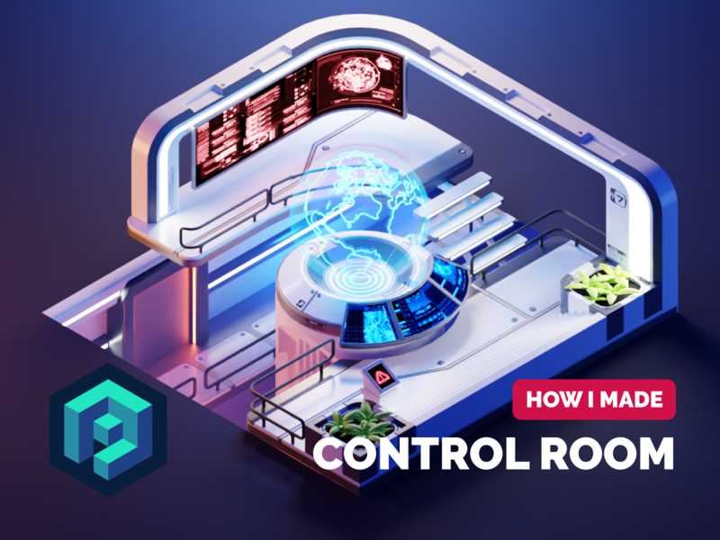 Control Room Tutorial environment scifi tutorial mass effect control room sci-fi diorama isometric render blender illustration 3d