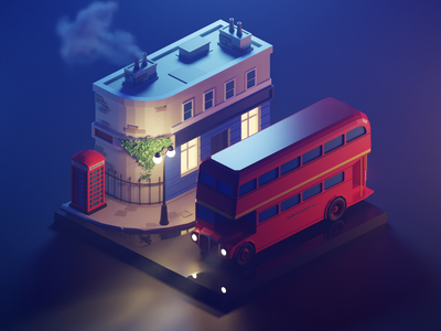 London Night city london lowpolyart low poly diorama isometric lowpoly render blender illustration 3d