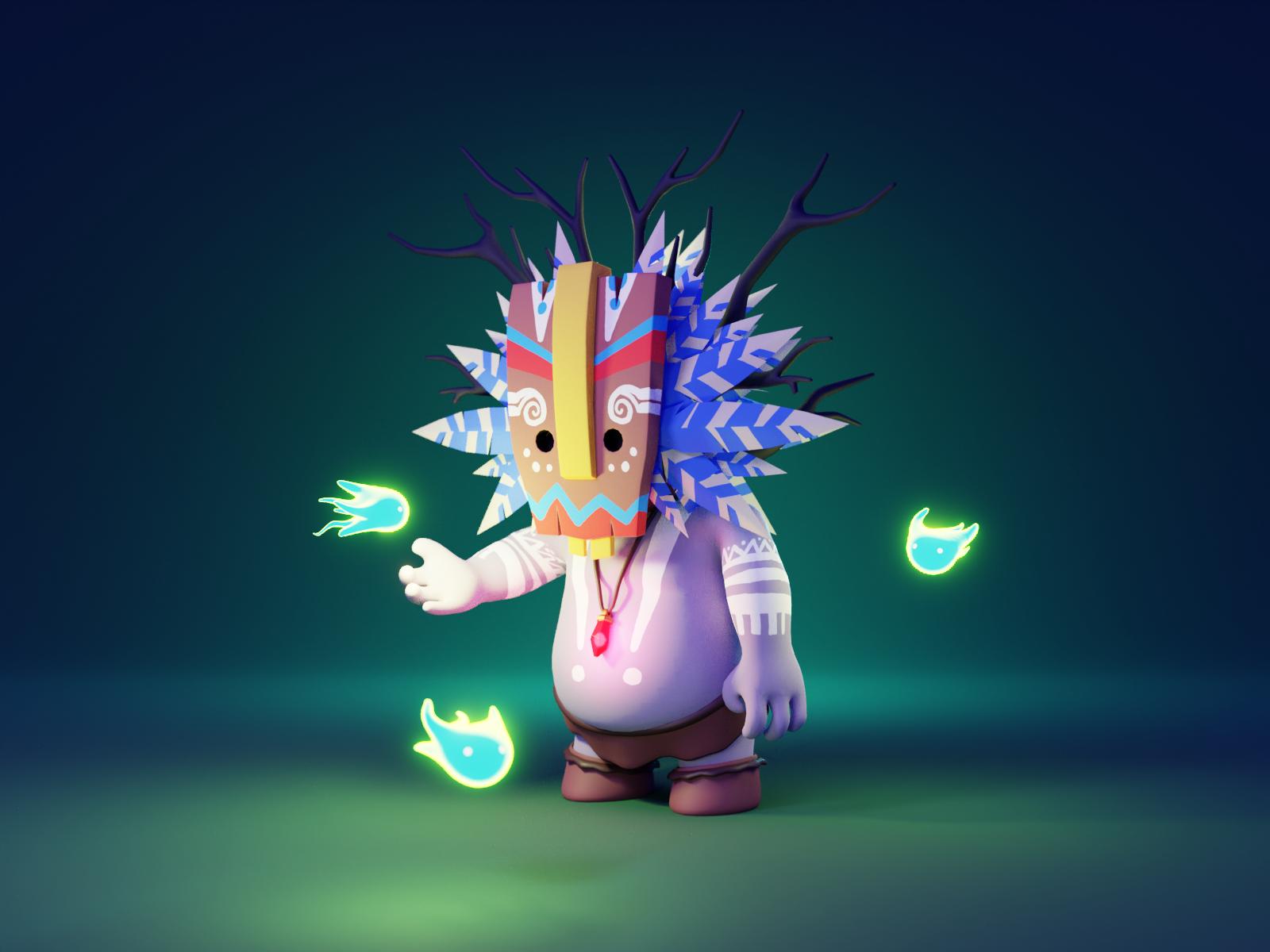 Tiki Shaman character illustration 3d character charater design character render blender illustration 3d