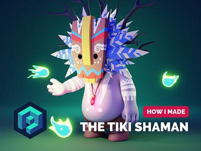 Tiki Shaman Tutorial tutorial 3d character modeling 3d character render blender illustration 3d