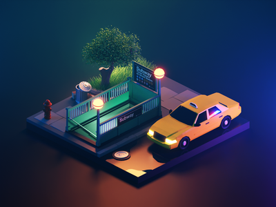 New York Night taxi new york lowpolyart low poly diorama isometric render blender illustration 3d