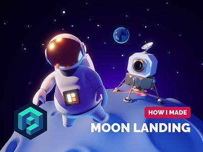 Moon Landing Tutorial 3d character modeling cartoon space moon landing moon astronaut 3d character character render blender illustration 3d