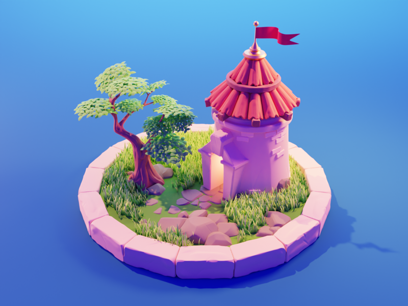 Medieval Tower tower castle medieval spyro stylized sculpting isometric diorama render blender illustration 3d