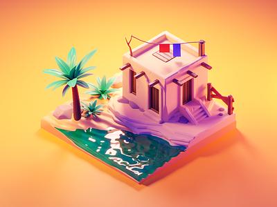 Oasis sand desert oasis sculpting diorama isometric render blender illustration 3d