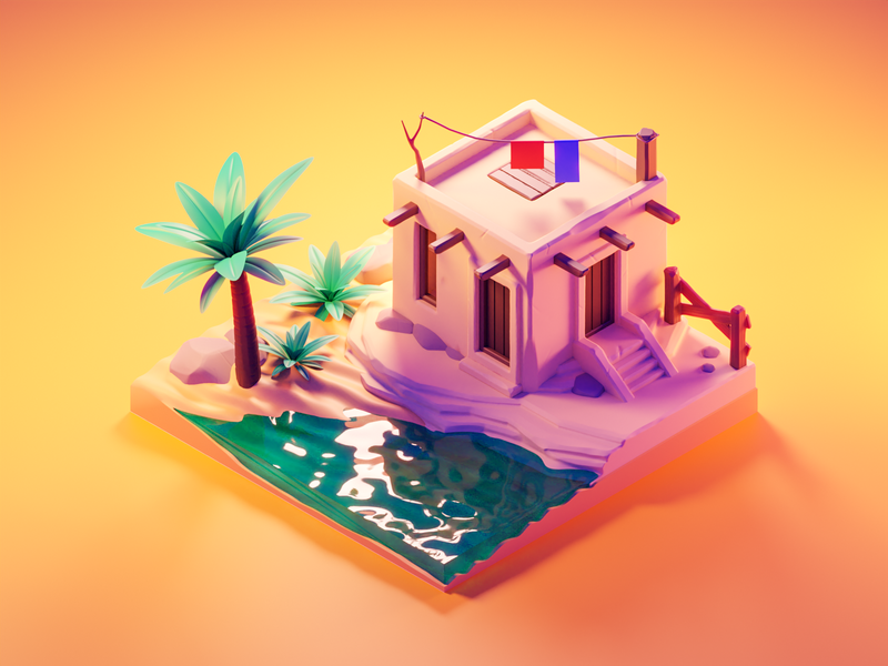 Oasis sand desert oasis sculpting diorama isometric render blender illustration 3d