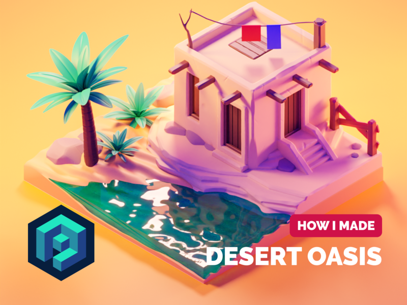 Oasis Tutorial tutorial oasis desert sculpting diorama isometric render blender illustration 3d