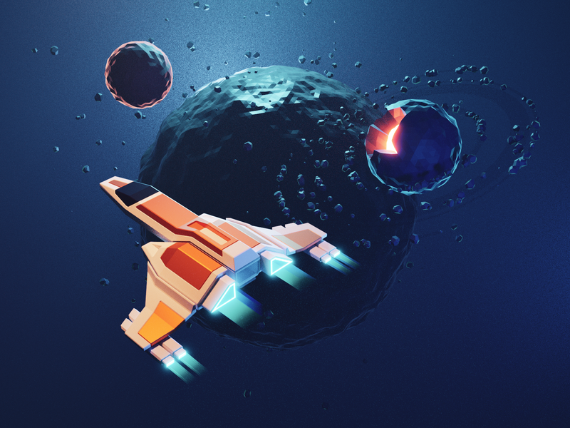 Space spaceship sci-fi space lowpolyart low poly isometric lowpoly render blender illustration 3d