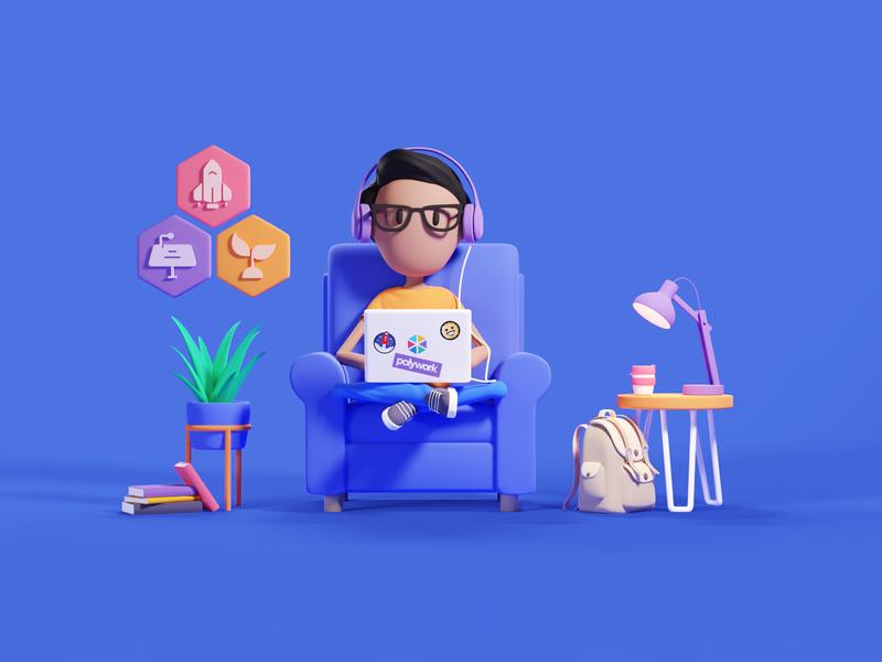Polywork Landing Page webdesign uiux uidesign 3d character character render blender illustration 3d
