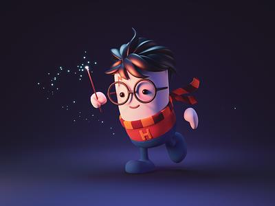 Little Wizard fantasy wizard harry potter character illustration character design character render blender illustration 3d