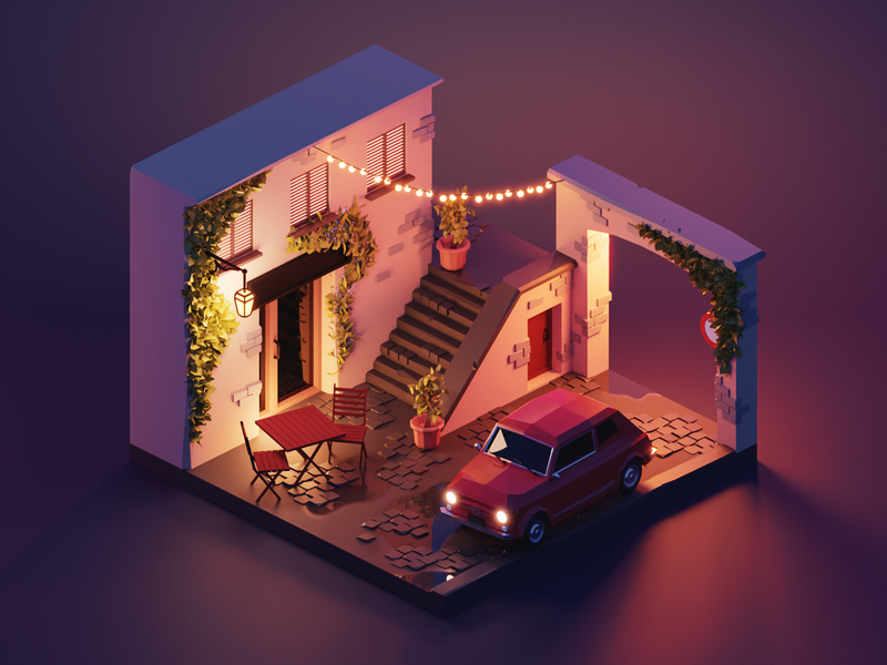 Rome Alleyway city rome lowpolyart low poly diorama isometric lowpoly render blender illustration 3d
