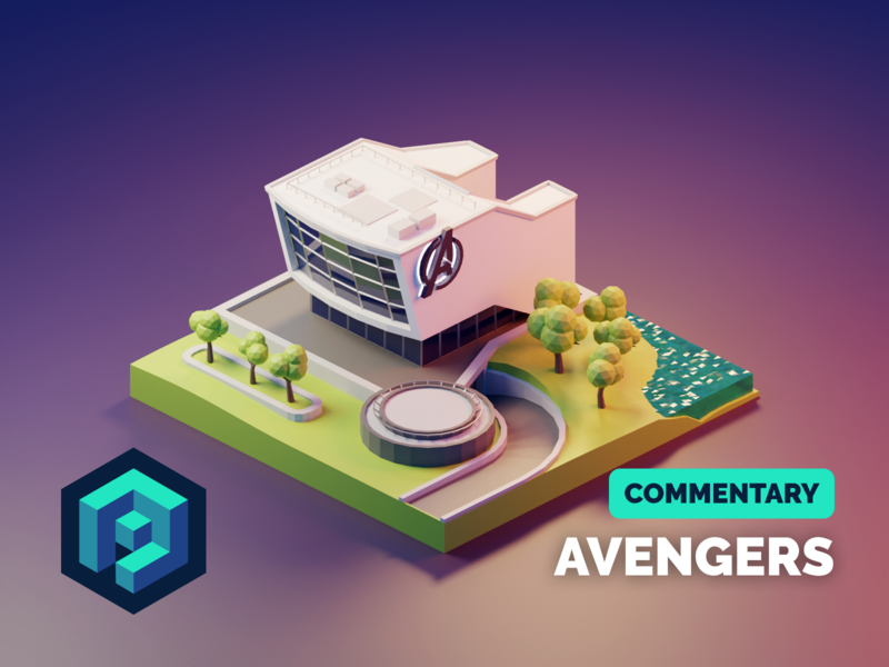 Avengers Tutorial fanart avengers tutorial lowpolyart low poly diorama isometric lowpoly render blender illustration 3d