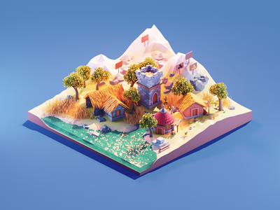 Settlers game art game settlers fanart lowpolyart low poly lowpoly diorama isometric render blender illustration 3d