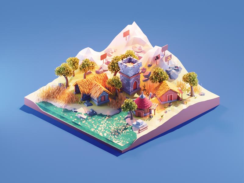 Settlers game art game settlers fanart lowpolyart low poly lowpoly diorama isometric render blender illustration 3d