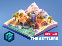 Settlers Tutorial game art settlers tutorial lowpolyart diorama low poly isometric lowpoly blender illustration 3d