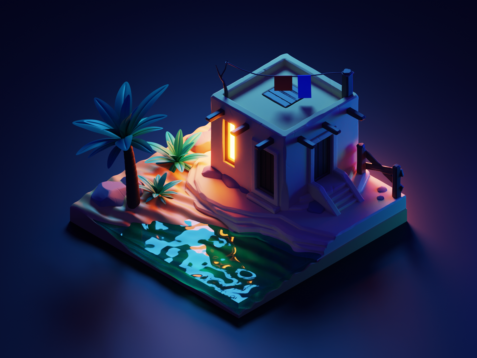 Night Oasis night desert oasis diorama isometric blender illustration 3d