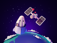 Connection iss spacex dragon space cartoon render blender illustration 3d