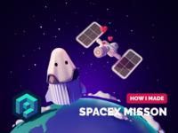 SpaceX Mission Tutorial spaceman iss spacex cartoon space render blender illustration 3d