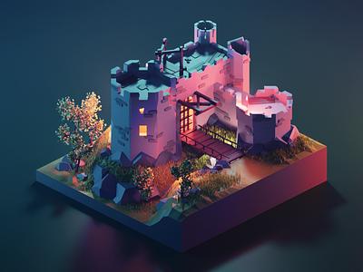 Kaer Morhen medieval castle witcher fanart lowpolyart low poly diorama lowpoly isometric render blender illustration 3d