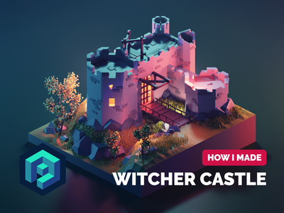 Witcher Castle Tutorial medieval castle witcher tutorial lowpolyart diorama low poly isometric lowpoly blender illustration 3d