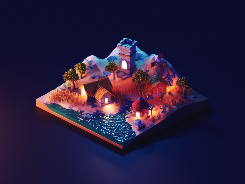 Night Settlers medieval settlers lowpolyart low poly diorama isometric lowpoly render blender illustration 3d