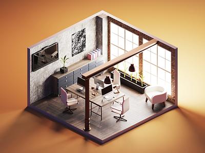 Design Studio 3d art diorama isometric render blender illustration 3d