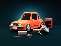 Car Workshop webdesign hero illustration workshop cartoon car diorama render blender illustration 3d
