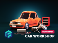 Car Workshop Tutorial tutorial 3d cartoon 3d car cartoon illustration cartoons cartoon render blender illustration 3d