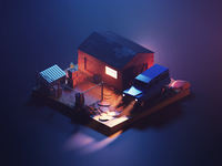 Warzone at Night truck car offroad warzone lowpolyart low poly diorama isometric lowpoly render blender illustration 3d