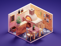 Pizza Place cartoon pizza pizzeria stylized low poly diorama lowpolyart lowpoly isometric render blender illustration 3d