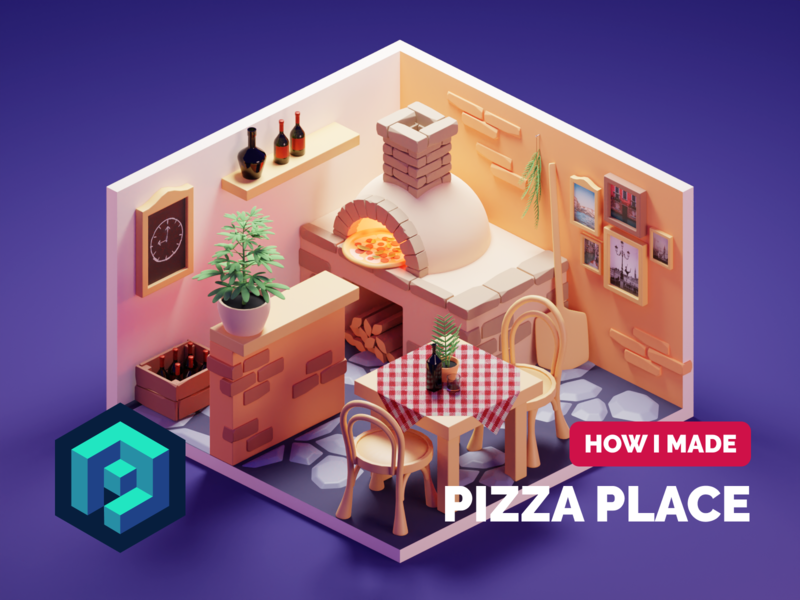 Pizza Place Tutorial restaurant room pizza tutorial lowpolyart low poly diorama isometric lowpoly render blender illustration 3d