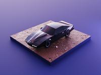 Knight Rider pontiac car knight rider kitt diorama isometric render blender illustration 3d