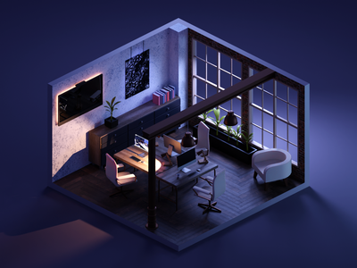 Night Shift studio office room lowpolyart low poly diorama isometric lowpoly render blender illustration 3d