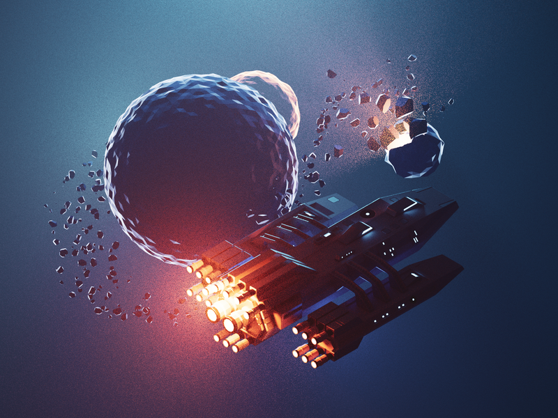 Galaxy Cruiser spaceship scifi space lowpolyart low poly diorama isometric lowpoly render blender illustration 3d