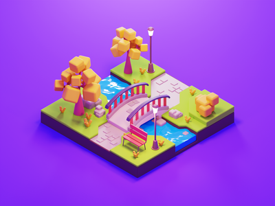 Walk in the Park summer nature park lowpolyart low poly diorama isometric lowpoly render blender illustration 3d